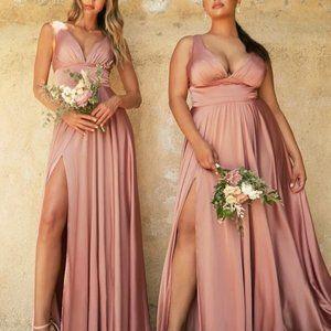 Rose Gold A-Line V-Neckline Sleeveless Evening Party Wedding Prom Dress CD7469